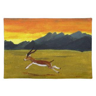 Arte de la fauna del Gazelle de la puesta del sol Manteles Individuales