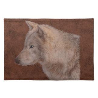 Arte de la fauna del retrato del lobo gris manteles individuales