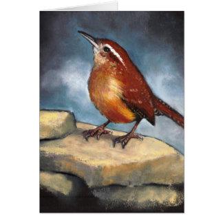 Arte de la fauna: Wren de Carolina en rocas: En Tarjeta De Felicitación
