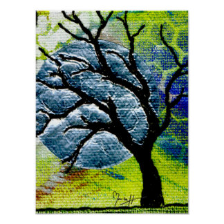 Arte de la fibra del árbol y de la luna póster