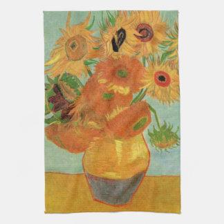 Arte de la flor de Van Gogh, florero con 12 Toallas De Cocina