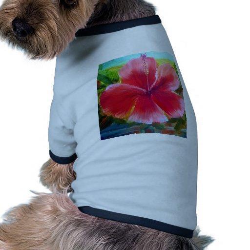 Arte de la flor del hibisco ropa para mascota