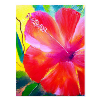 Arte de la flor del hibisco tarjeta postal