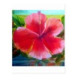 Arte de la flor del hibisco tarjetas postales