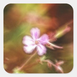 Arte de la flor pegatinas cuadradas personalizadas