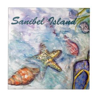 Arte de la Florida de la acuarela de la isla de Sa Azulejo Cuadrado Pequeño