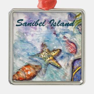 Arte de la Florida de la acuarela de la isla de Sa Adorno De Navidad
