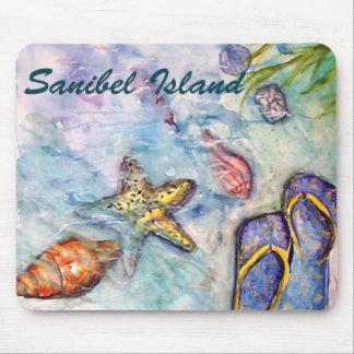 Arte de la Florida de la acuarela de la isla de Sa Tapete De Ratón