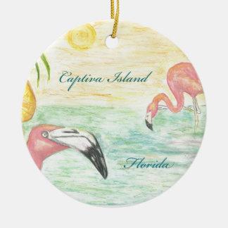 Arte de la Florida de los flamencos de la isla de Adorno Navideño Redondo De Cerámica