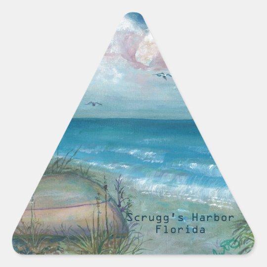 Arte de la Florida del puerto de Scrugg Pegatina Triangular
