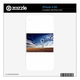 Arte de la foto del molino de viento de la pradera calcomanía para iPhone 4S