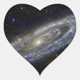 Arte de la galaxia de Milkyway Pegatinas Corazon