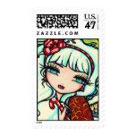 Arte de la hada del ángel del navidad del bastón timbres postales