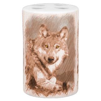 Arte de la imagen del bosquejo del lápiz del lobo vaso para cepillos de dientes