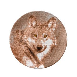 Arte de la imagen del bosquejo del lápiz del lobo platos de cerámica