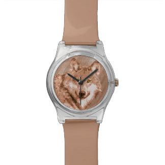 Arte de la imagen del bosquejo del lápiz del lobo relojes de pulsera