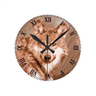 Arte de la imagen del bosquejo del lápiz del lobo reloj redondo mediano