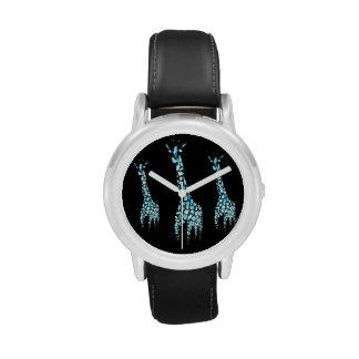Arte de la jirafa del animal salvaje relojes de mano