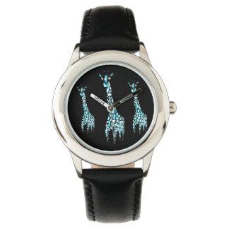 Arte de la jirafa del animal salvaje relojes de pulsera
