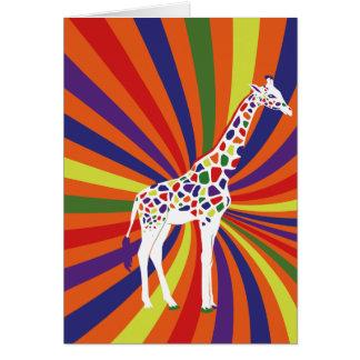 Arte de la jirafa del arco iris felicitaciones