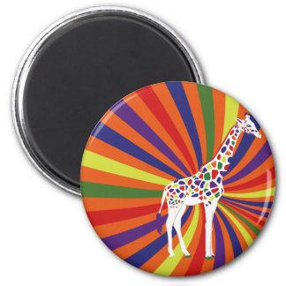 Arte de la jirafa del arco iris imán redondo 5 cm