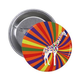 Arte de la jirafa del arco iris pin redondo de 2 pulgadas
