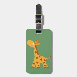 Arte de la jirafa y de los corazones etiquetas maleta