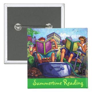 Arte de la lectura del verano pin cuadrado