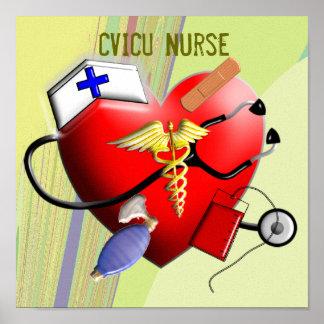 Arte de la lona de la enfermera de CVICU Póster