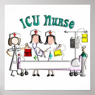 Arte de la lona de la enfermera de ICU - gráficos  Poster