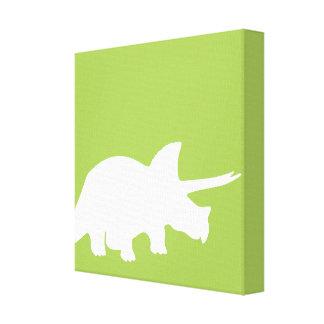 Arte de la lona de los dinosaurios en verde impresión en tela