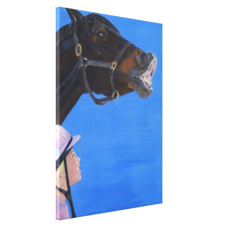 Arte de la lona del caballo y del chica impresion en lona