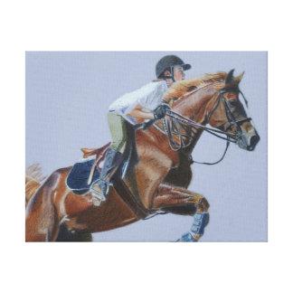Arte de la lona del caballo y del jinete impresión en lienzo estirada