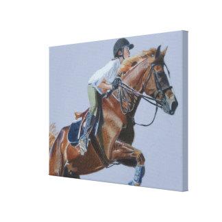 Arte de la lona del caballo y del jinete impresión en tela