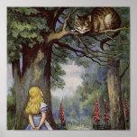 Arte de la lona del gato de Cheshire Póster