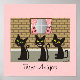 Arte de la lona del gato negro tres amigos posters