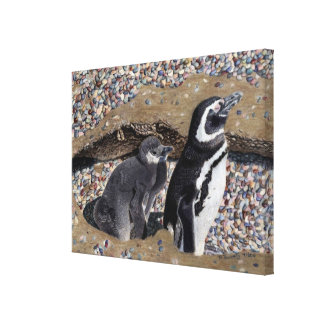 Arte de la lona del pingüino de la madre y del beb lienzo envuelto para galerías