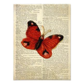 Arte de la mariposa en rojo de la página del dicci fotografía