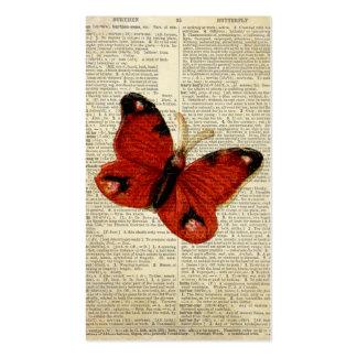 Arte de la mariposa en rojo de la página del tarjetas de visita