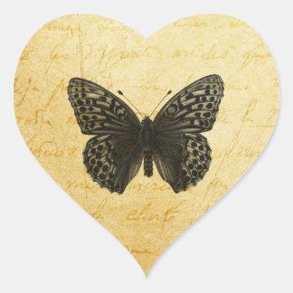 Arte de la mariposa pegatina en forma de corazón