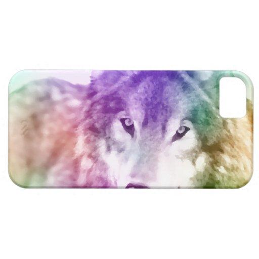 Arte de la mirada del lobo iPhone 5 Case-Mate cárcasas