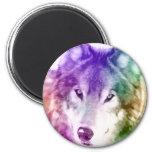 Arte de la mirada del lobo imán redondo 5 cm