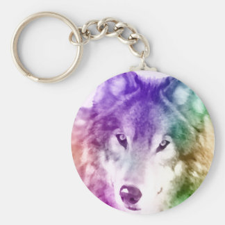 Arte de la mirada del lobo llavero redondo tipo pin