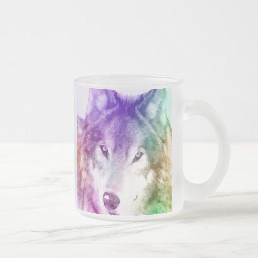 Arte de la mirada del lobo taza de café esmerilada