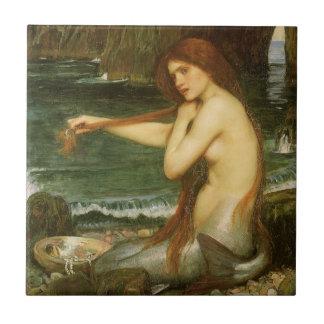 Arte de la mitología del Victorian, sirena por el Azulejo Cuadrado Pequeño