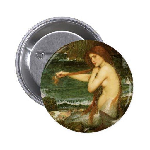 Arte de la mitología del Victorian, sirena por el Pin Redondo De 2 Pulgadas