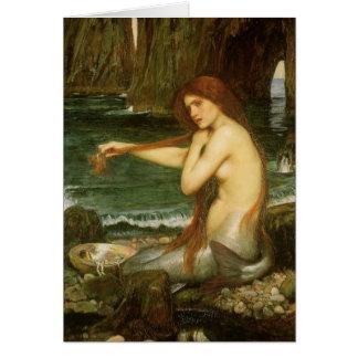 Arte de la mitología del Victorian, sirena por el Tarjeta De Felicitación