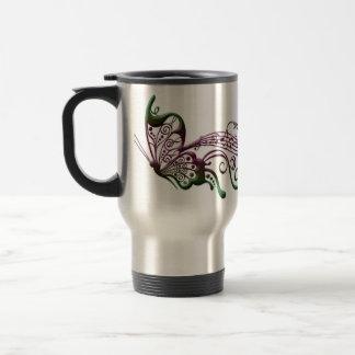 Arte de la música de la mariposa taza térmica