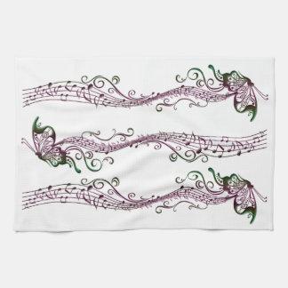 Arte de la música de la mariposa toallas de mano