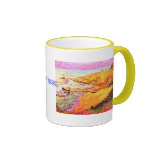 arte de la música de la playa taza de dos colores